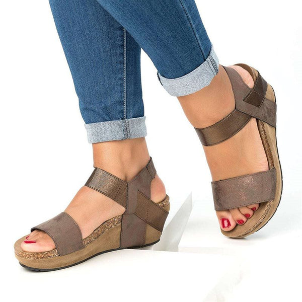 Wedge Heel Ankle Strap Open Toe Elastic Band Casual Platform Sandals