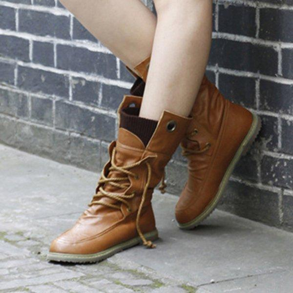 Explosion Retro Round Toe Soft Women's Flat Boots