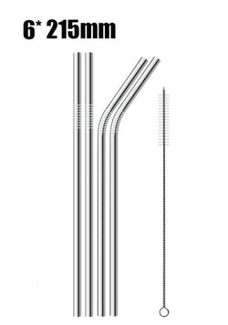 4/8Pcs Reusable 304 Stainless Steel Metal Drinking Straw