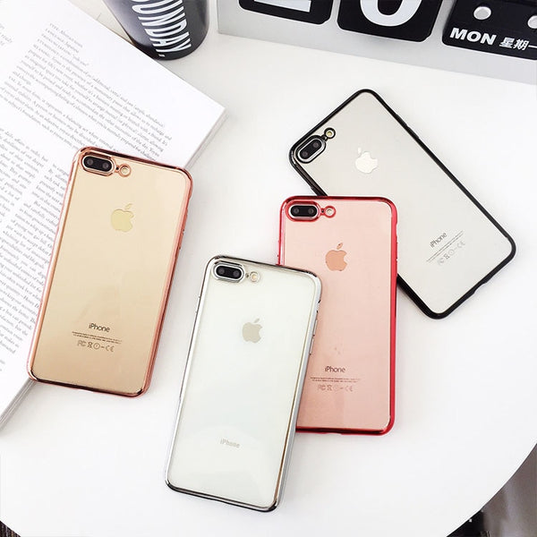 Luxury Soft TPU Transparent Plating Shining Cases For iPhone