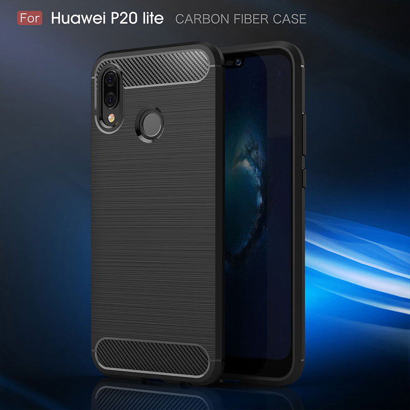 Huawei P20 Lite Case Cover Shockproof Carbon Fiber Bumper Rugged TPU Silcone Protector Case