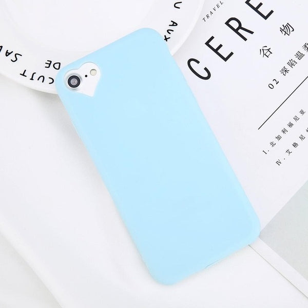Fashion Candy Solid Color Love Heart Soft Silicone For iPhone