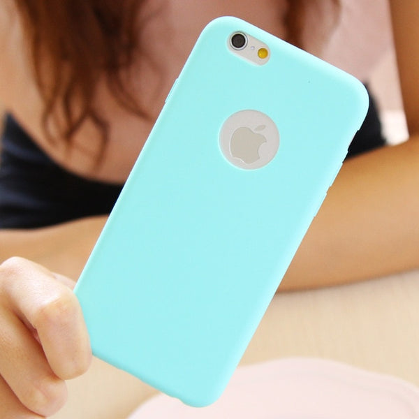 Ultra-thin Solid Color Matte Candy Color Case for iPhone