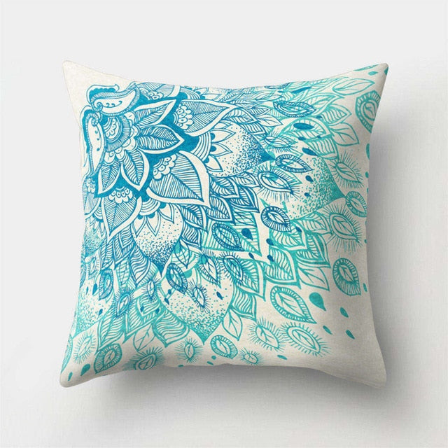 Mandala Pattern Blue Polyester Throw Pillow Cushion Cover 43*43cm