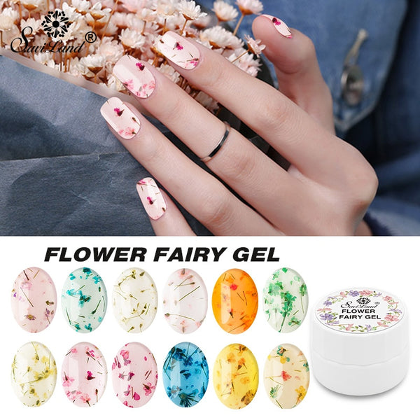Floral Uv Gel Varnish Lucky Gel Paint Dried Flowers Nail Art Glue 3D DIY Desgin Natural Fairy Nail Gel Polish