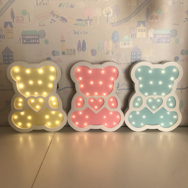 Wooden Bear LED Night Light Cartoon Bedside Wall Night Lamp