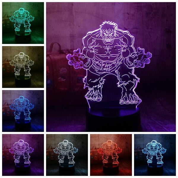 Cool Marvel Super Hero Spider iron Man Hulk Deadpool 3D LED Lamp Night Light Multicolor