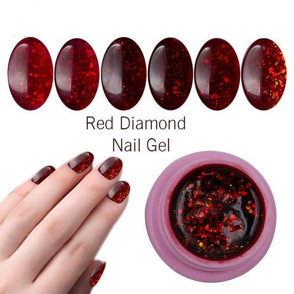 8ml 3D Red Diamond Glitter Shining Gel Lacquer Soak Off Long-lasting LED UV Nail Gel Polish DIY Nail Art Style Lak