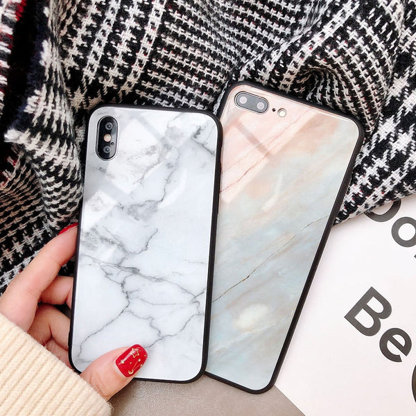 Marble Tempered Glass Phone Case For Apple iPhone X 8 7 6 6s Plus