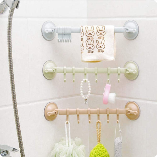 1PC Adjustable Hook Rack Double Suction Cup Towel Rack Hanging Shelves Hook Holder