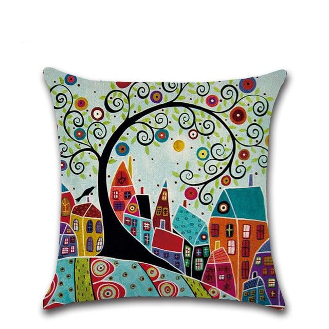 Hand-Painted Retro Rural Color Cities 45*45cm Cushion Cover