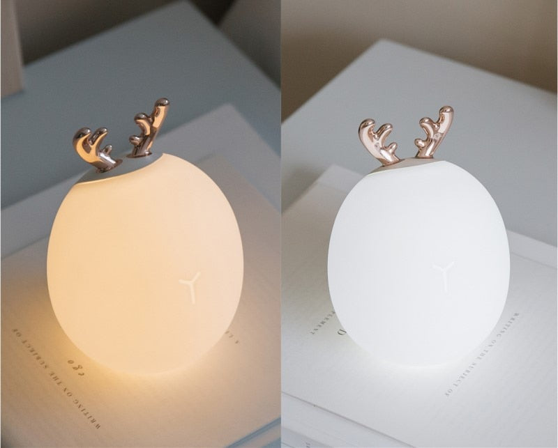 Dimmable LED Night Light Silicone Animal Cartoon Lamp USB Rechargeable