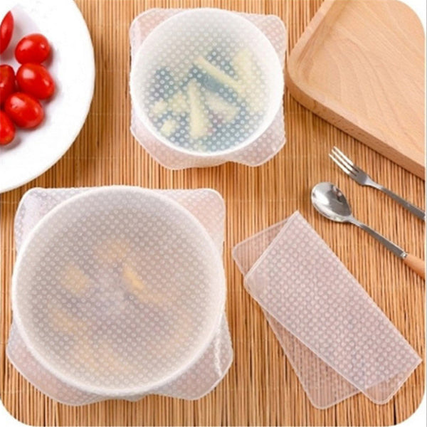 3Pc Kitchen Gadget Silicone Fruit Wraps Seal Cover Stretch Cling Film Fruit  Food Fresh Keep