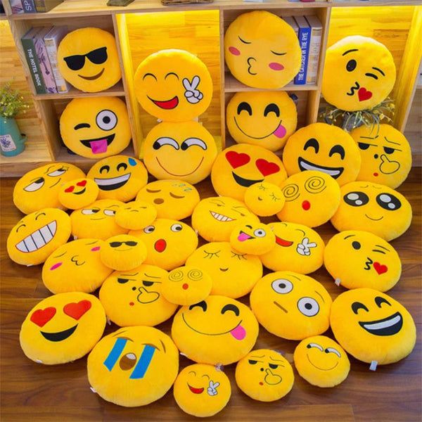 Smiley Face QQ Emoji Pillows Soft Plush Emoticon Round Cushion