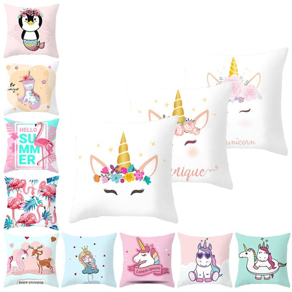 Cartoon 45x45cm Flamingo Unicorn Throw Pillow Case