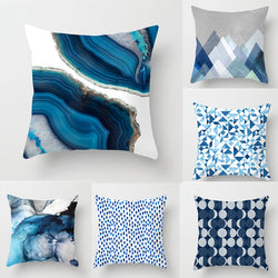 New Creative Blue Abstract Design Printed Cushion Covers 45x45cm