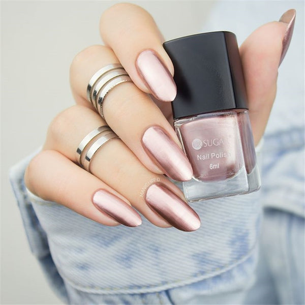 Colorful Pink Silver Gold Mirror Metallic Nail Polish Metallic Nail Lacquer Mirror Effect Gorgeous Metal Nail Varnish