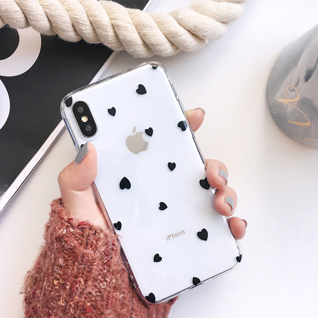 Cartoon Love Heart Clear Phone Case For iPhone