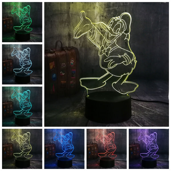 Mickey Minnie Mouse Winnie Tinker Bell Eeyore Donald Duck Buzz 3D LED Lamp Night Light