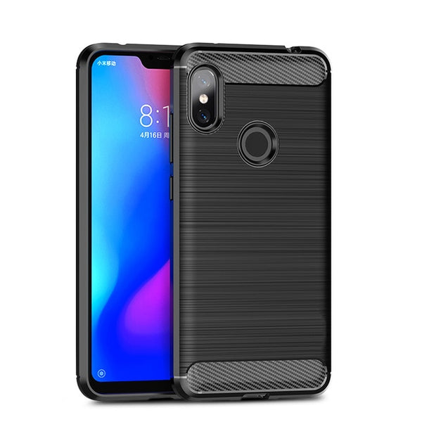 For Xiaomi Redmi Note 6 Pro Case Soft Silicone Brushed Carbon Fiber TPU Phone Cases