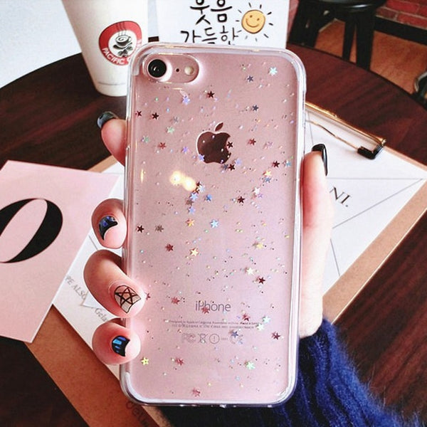 Clear Glitter Star Cover For iphone