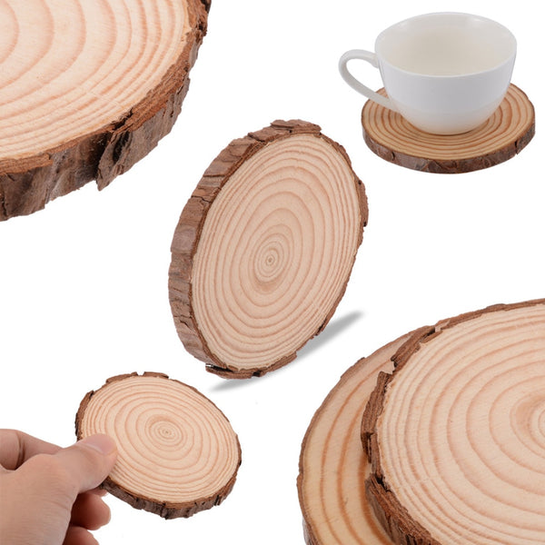 Wooden Slice Cup Mat Natural Round  Coaster Tea Coffee Mug Drinks Holder