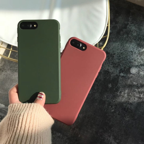 Candy Color TPU Silicone Case Matte Frosted Soft Cover Case for iPhone