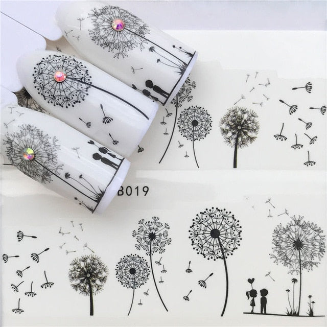 Flying Dandelion Nail Art Water Decals Transfer Nails Sticker