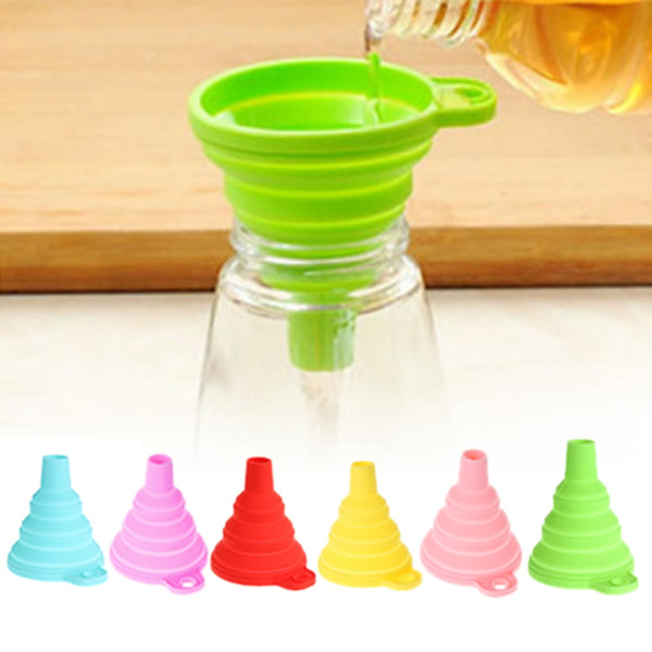 1PC Silicone Colander Mini Foldable Funnels Hopper Cooking Gadgets