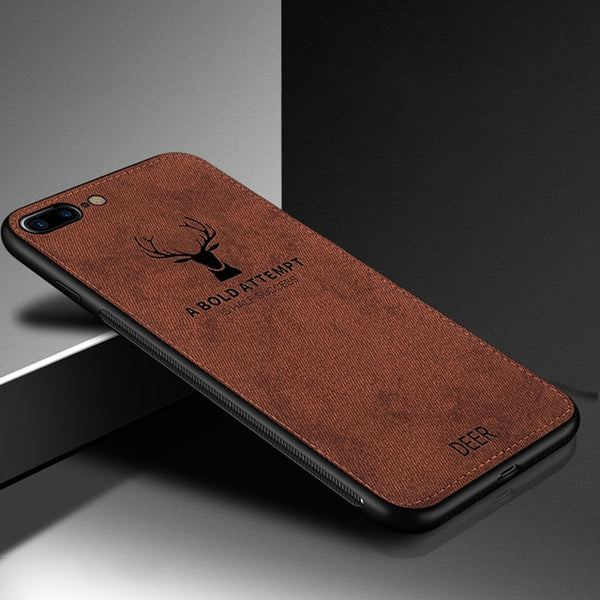 Cloth Texture 3D Embossed Deer Case For iPhone