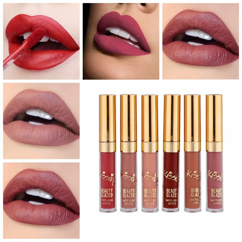 6Pcs/Set Matte Long Lasting Liquid Lipstick Lip Gloss