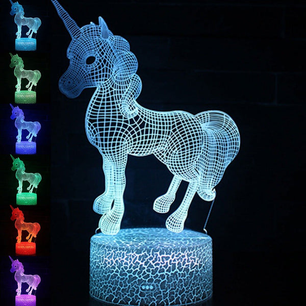 Unicorn 3D LED Lamp USB Night Light 7 Colors Changing