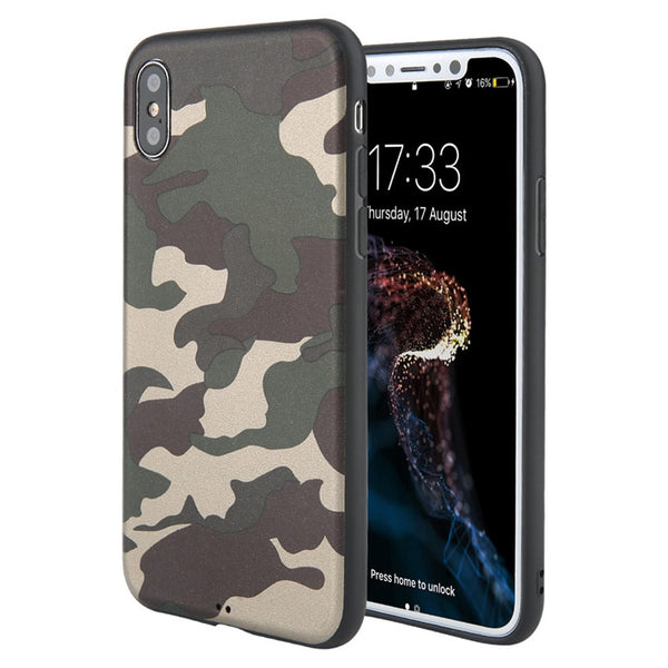 Army Green Camouflage Soft TPU Silicon Phone Cases For iPhone