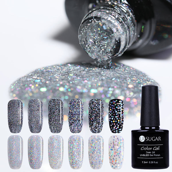 Laser Silver UV Nail Gel Polish Holographic Glitter Led Gel Nail Polish 7.5ml