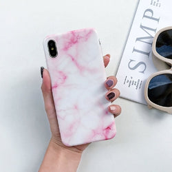 Marble Case on For Coque iphone