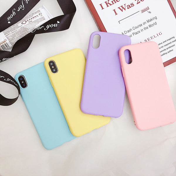 Candy Color Matte Phone Case For iPhone 7 Plus 6 6s 8 5 5s SE For iPhone XS MAX X XR