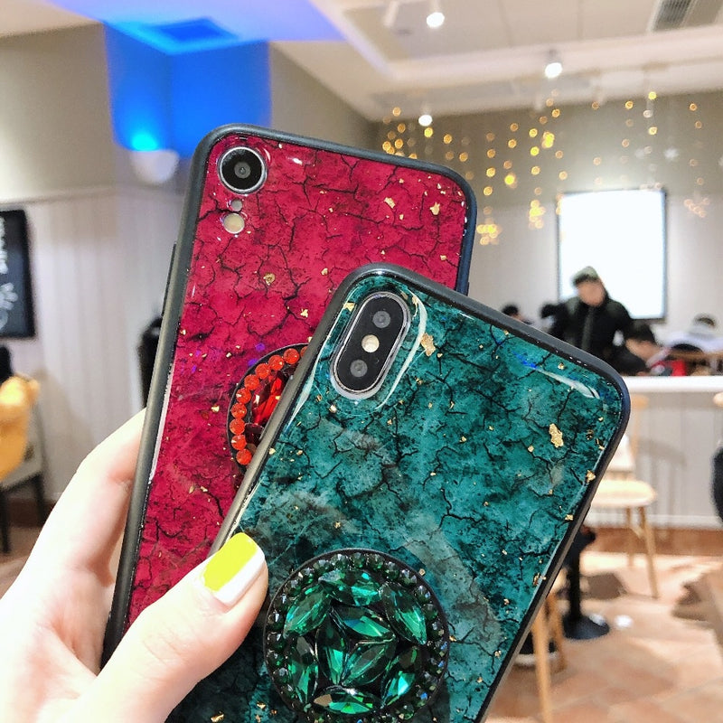 Phone Cases For iPhone XS Max Case Luxury Marble Glitter Holder Coque For iPhone