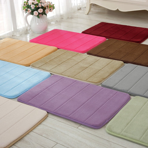 40x60cm Memory Foam Bath Mats Bathroom Horizontal Stripes Rug Non-slip Bath Mats