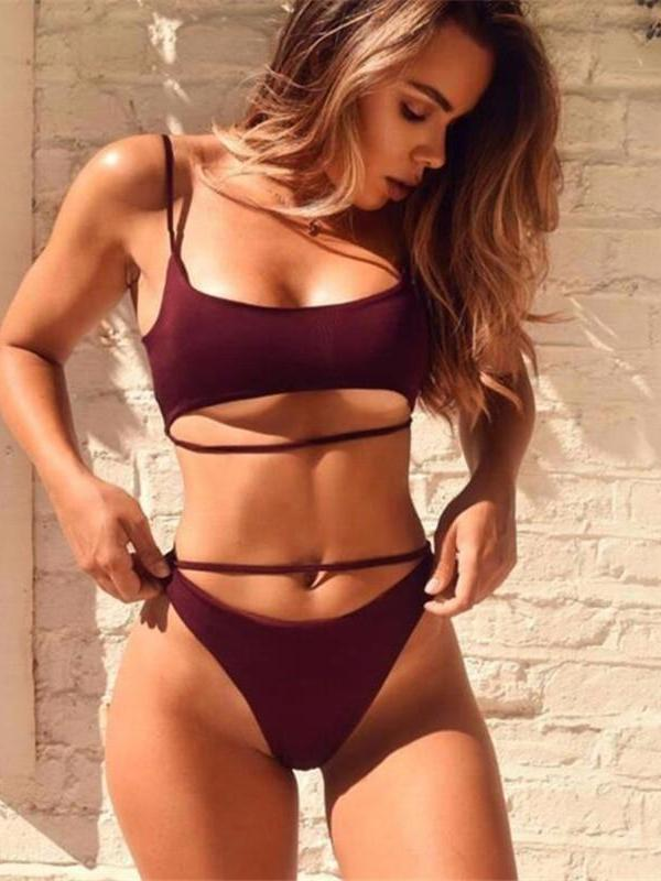 Sexy Hollow Out Solid Color Push Up Bikini