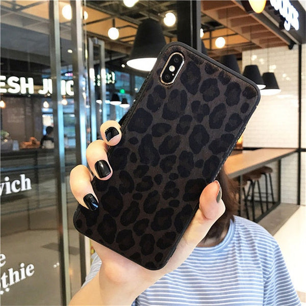 Plush Leopard Print Phone Case For iPhone
