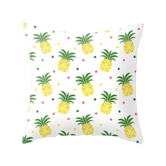 Polyester Cushion Cover Yellow Based Printing Graffiti Pillow Covers