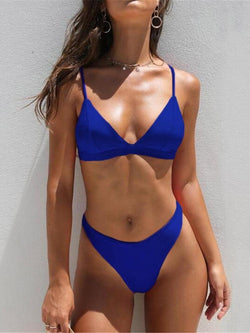 Mid Waist New Solid Color Women Two Pieces Bikini