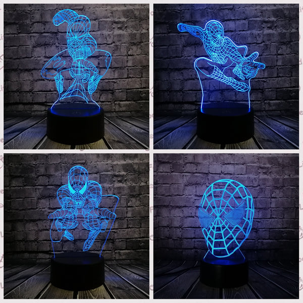 Superhero Man Figure Spider man 3D Lamp Multicolor Led Night Light