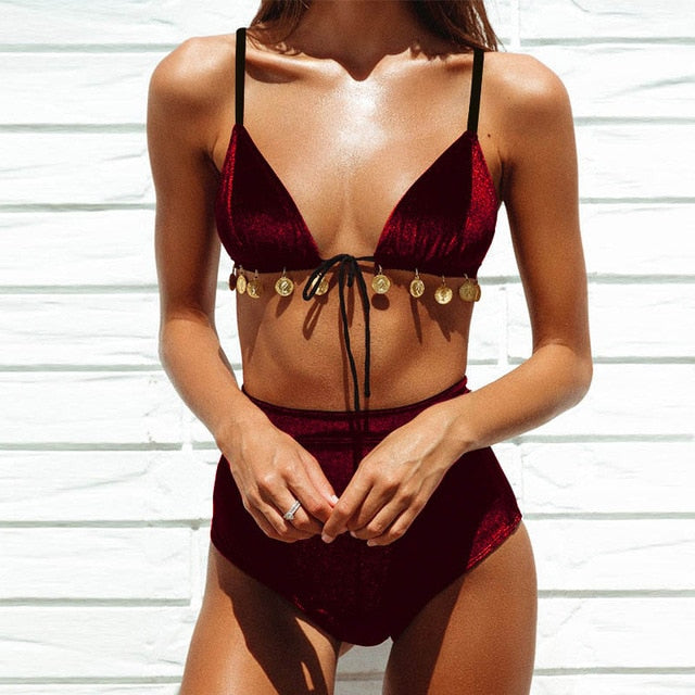 Sexy Velvet Tassel Push Up String High Waist Bikini