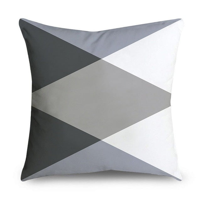 45*45cm Gray Striped Geometric Cushion Cover Polyester Pillowcase