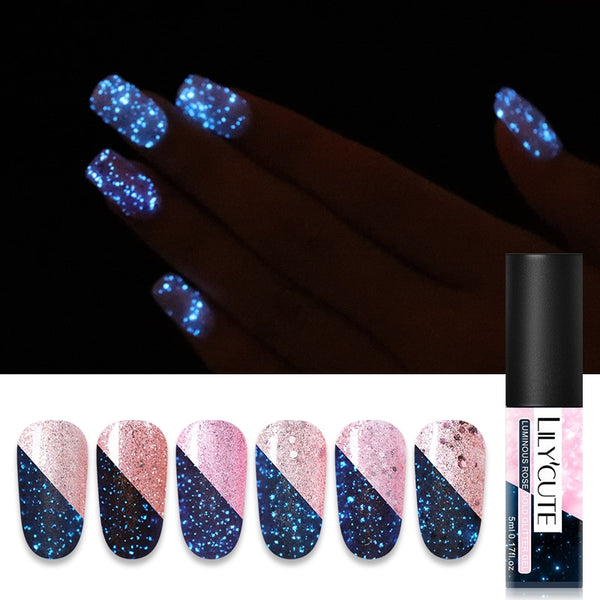 5ml Luminous Gel Polish Rose Gold Shimmer Glitter Gel Lacquer Semi Permanent Nail Art Gel Varnish
