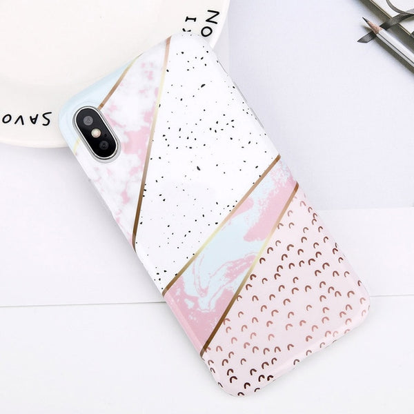 Glitter Powder Marble Phone Case For iPhone Silicone Soft TPU Back Cover