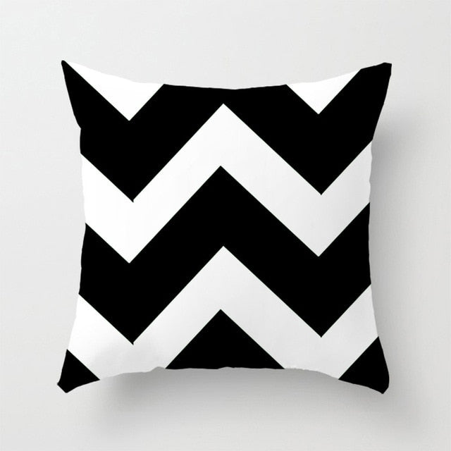 Geometric Plaid Black White Home Pillowcase 45*45 cm
