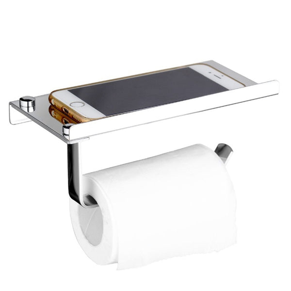 Stainless steel roll tissue towel toilet paper holder with phone shelf for bathroom