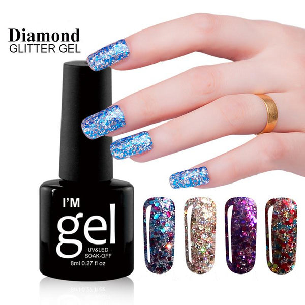 8 ML Diamond Sequin glitter Gel Nail Polish 3D Diamond UV LED Soak Off Gel